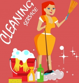 cleaning service advertising housewife utensils icons