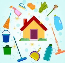 cleaning service design elements house icons various symbols