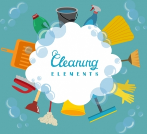 cleaning services design elements various colored tools icons