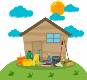 cleaning tools design elements household icons colored cartoon