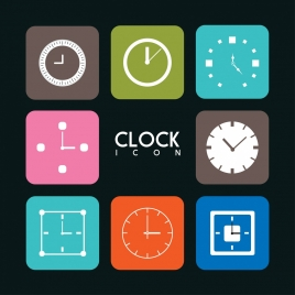 clock icons collection various colored flat types