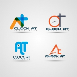 clock logotypes collection colored flat abstract style
