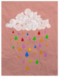 cloud and rain in paper art