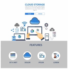 cloud storage website design illustration with computing symbols