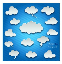 Clouds set on the blue background