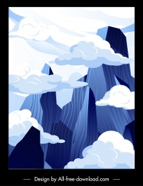 cloudy mountain peak scene painting bright classical design