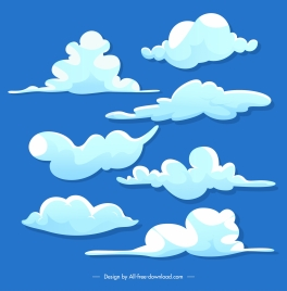 cloudy sky background template colored flat handdrawn design