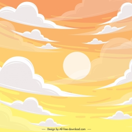 cloudy sky painting colorful classical design