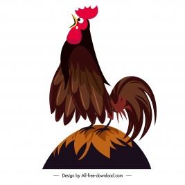 cock crow icon colored cartoon sketch