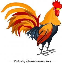 cock icon colorful cartoon design
