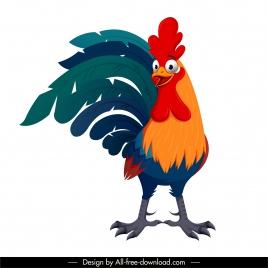 cock icon colorful design funny cartoon sketch