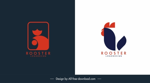 cock logotype templates bright dark flat outline