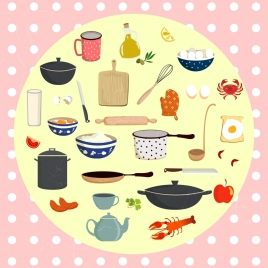 cocking design elements various kitchenware objects circle isolation