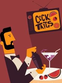 cocktail advertising banner elegant man icon colored cartoon