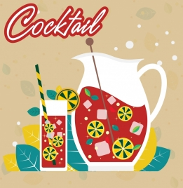 cocktail background multicolored flat design