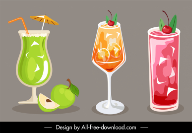 cocktail drinks icons colorful elegant decor