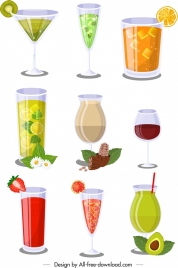 cocktails glass icons collection colorful modern design