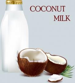 coconut milk promotion banner bright colored ornament