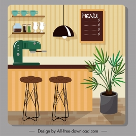 cofee bar decor template colorful contemporary decor