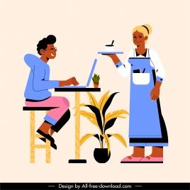 coffe break painting customer waitress sketch cartoon design