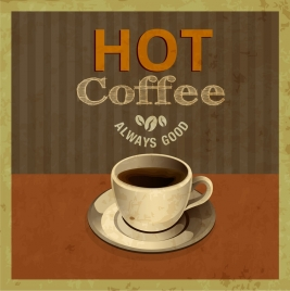coffee advertisement grunge retro design 3d cup decor