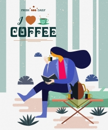 coffee advertisement relaxing woman icon classical cartoon design