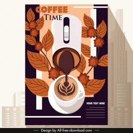 coffee advertising banner cup leaves office mouse sketch