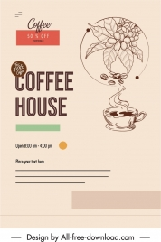 coffee advertising banner retro design cup bean sketch