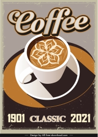 coffee advertising banner retro design decorated cup sketch