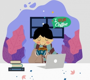 coffee advertising banner work place icon colored cartoon