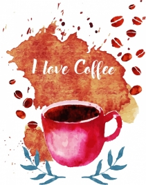 coffee advertising grunge watercolor design cup nuts icons