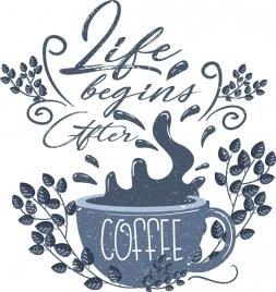 coffee advertising splashing cup leaf icons retro design