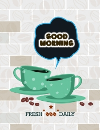 coffee advertising stylized cups icons beans hallo decor