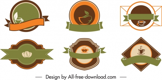 coffee badge templates elegant classical dark decor