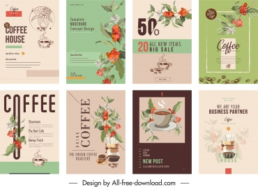 coffee brochure cover templates elegant classic floral decor