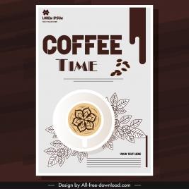 coffee brochure template classical brown cup leaves sketch