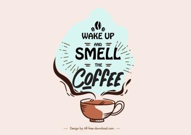 coffee decor element calligraphic cup sketch retro handdrawn
