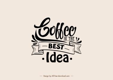coffee decor element calligraphic ribbon sketch classic design