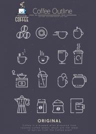 coffee design elements black white flat sketch