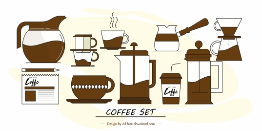 coffee design elements flat symbols sketch classic brown