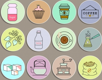 coffee design elements objects sketch colored circles isolation