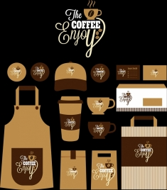 coffee identity sets dark brown design various icons