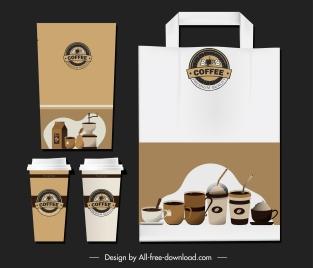 coffee identity sets elegant classic brown decor