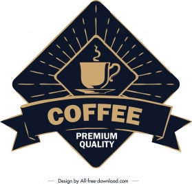 coffee label template classical dark ribbon geometric decor