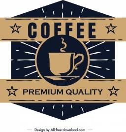 coffee label template dark retro flat polygonal design