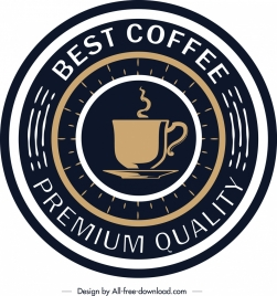 coffee label template elegant round dark design