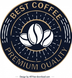 coffee label template retro black circle design