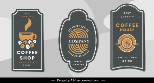 coffee label templates flat dark classical design