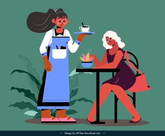 coffee lifestyle painting guest waitress sketch cartoon characters