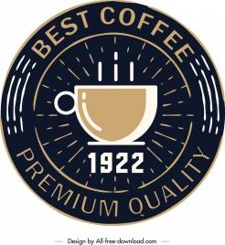 coffee logo template cup icon dark rays ornament